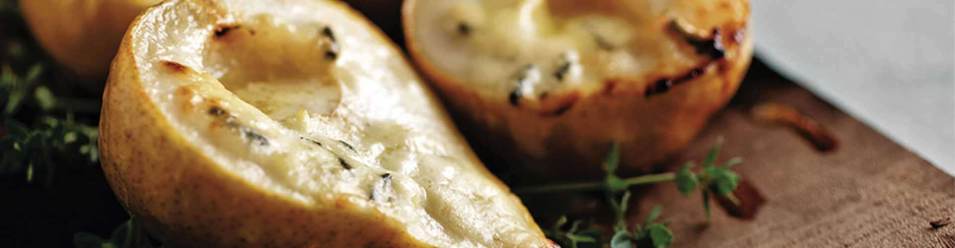 Plank Roasted Pears with Blue Cheese