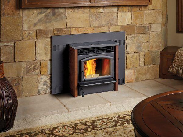 Pellet stove insert in elegant living room