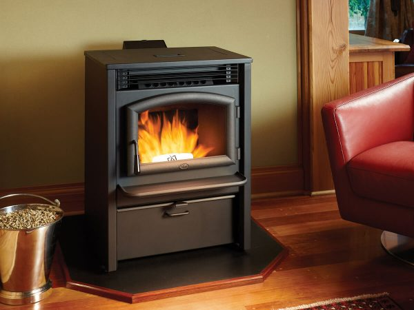 Pellet stove burning in living room