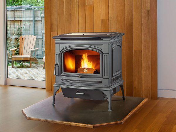 Lit pellet stove in living room