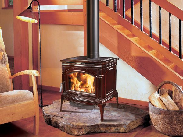 Wood stove burning in cabin