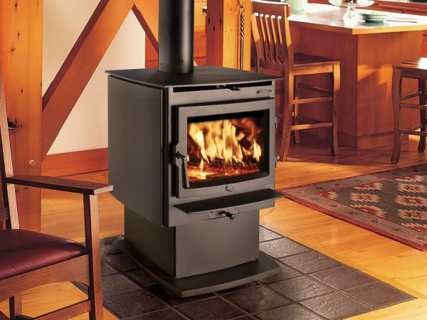 Wood stove warming a cottage