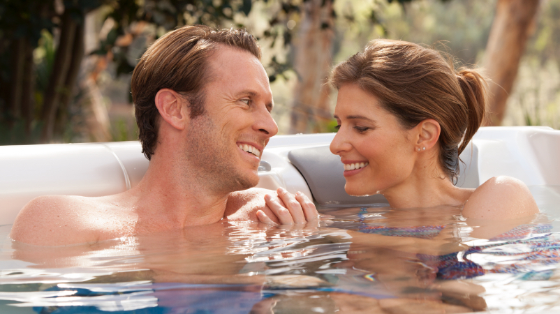 couple in hot spring spas hot tub