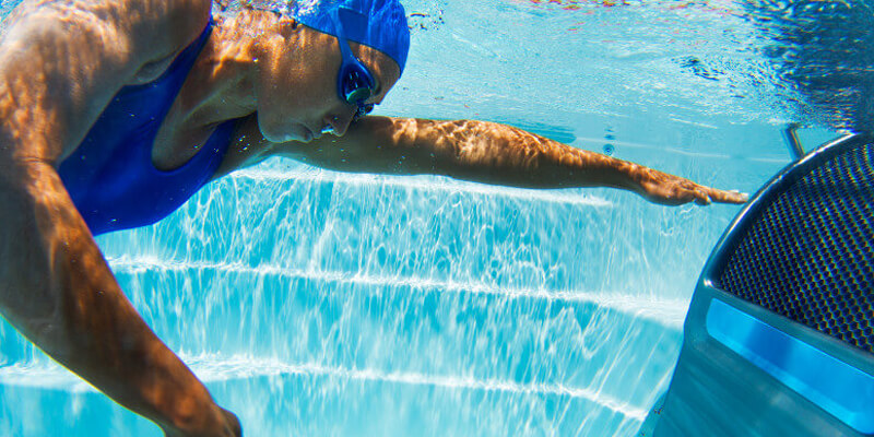 Athlete considering buying and swimming and in a swim spa