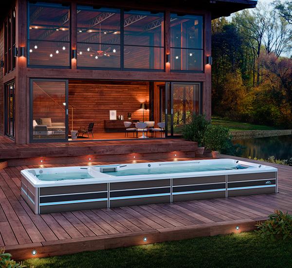 In-ground swim spa installation on deck