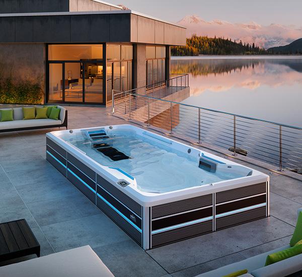Swim spa installation next to lake