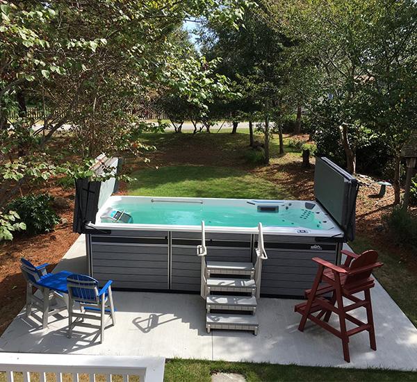 Swim spa installation on patio with steps