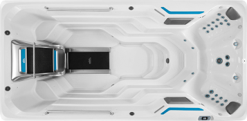Overhead of E500 swim spa compared to other models