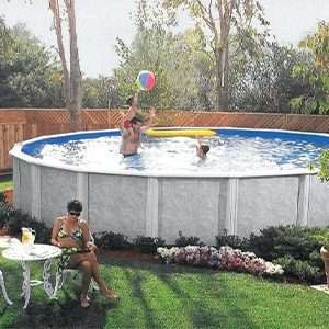 family playing in garden leisure above ground swimming pool