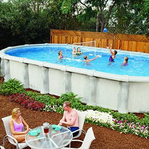 Family playing in saratoga above ground swimming pool