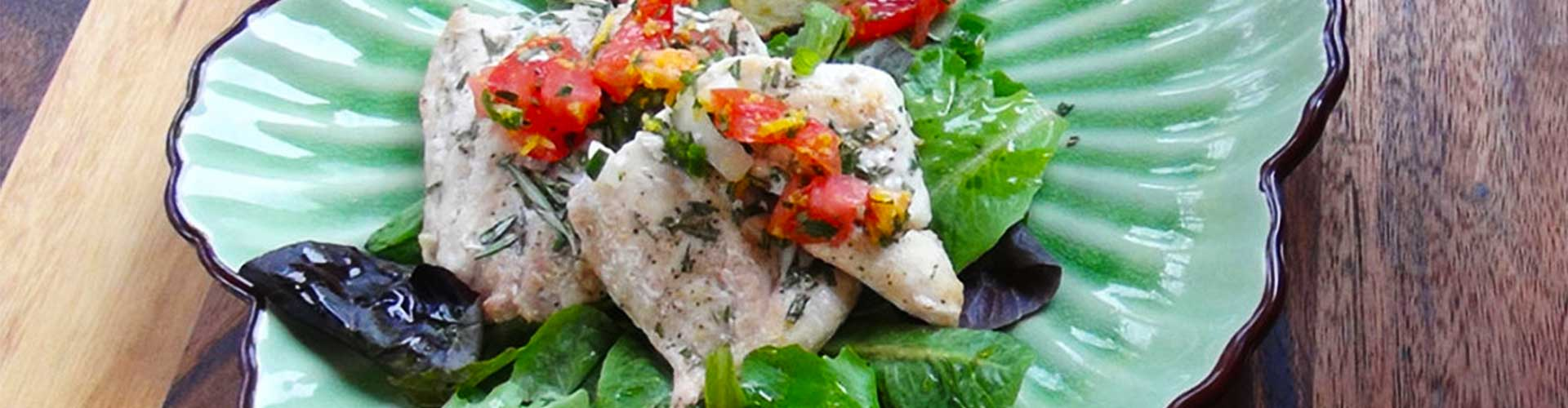 Grilled Grouper with Basil Tomato Sauce